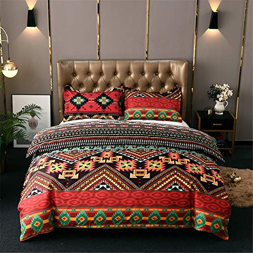Chanyuan - Juego de ropa de cama bohemio (135 x 200 cm, 2 piezas, microfibra suave, bohemia, exótica, diseño de rayas, estilo vintage, funda nórdica con cremallera)