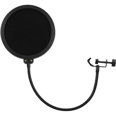 Moukey MPFBK Filtro Antipop di Microfono per Blue Yeti e qualsiasi Microfono Schermo a doppio strato con il clip supporto flessibile