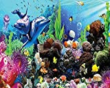 Pegatinas de pared 3D personalizadas Mural personalizado Papel tapiz 3D Mundo submarino Acuario 3D Dolphin TV Pared de fondo de pared para guardería para-250X175cm