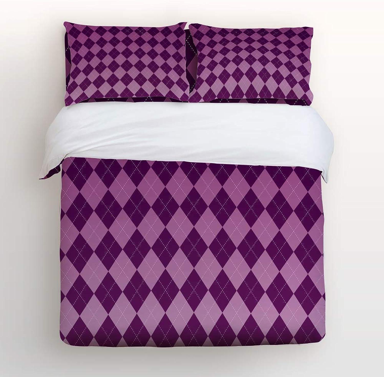 LEO BON Duvet Cover Set Full Size Classic Purple Gradation Grid Floral Duvet Cover and Pillow Shams Bed Set