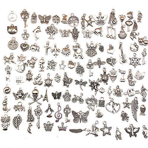 Nuluxi Charm Anhänger zum Schmuck Gemischte Tibetischen Stil Legierung Anhänger Gemischte Charms Anhänger DIY für Schmuckherstellung Halskette Armband Weihnachten Dekoration Schmuck und Basteln Set