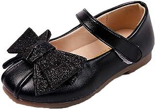 Zapatos de Cuero de Princesa para niñas Zapatos de Mary Jane con Punta Redonda y Plana Zapatos de Vestir con Lazo Bonito y...