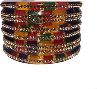 Indianbeautiflstore Indian Designer Golden Crystal Beautifully Designed Bangles for Women Bohemian Gypsy Jewelry