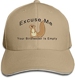 Peaked Excuse Me Your Birdfeeder Is Empty Squirrel Sandwich Cap For Womens