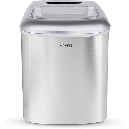H.Koenig Machine à glaçons KB20, 12kg en 24h, 2 tailles de glaçons automatique électrique compact portable sans installation silencieuse 2,1L, cube de glace rapide prêt en 13min, à poser sur comptoir