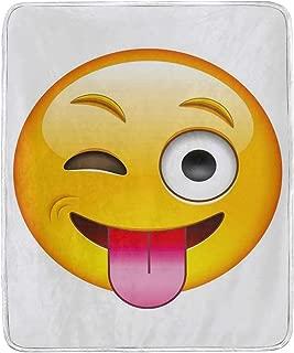 CHASOEA Throw Blanket,Cartoon Like Technologic Smiley Flirty Sarcastic Happy Face with Tongue Modern,Microfiber All Season Bed Couch,30