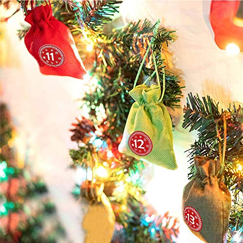 Adventskalender zum Selber Befüllen Selbstgemachte Adventskalender 24 Holzklammern und Hanfseil Jutebeutel, Stoffbeutel, Geschenksäckchen mit Zugband
