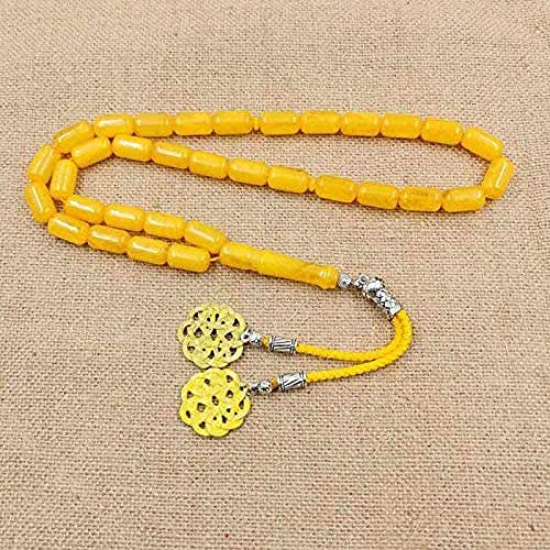 ZPPYMXGZ Co.,ltd Necklace Fashion Yellow Resin 33 Beads Amber Color Muslim Man Rosary Eid Gift Yellow Metal Tassel Islamic Bracelet Turkish Jewelry