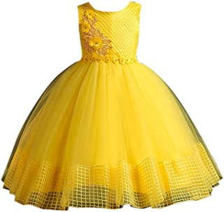 Hopscotch Girls Poly Viscose Floral Applique Sleeveless Dress in Yellow Color
