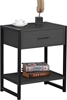 Dark Brown SPDX-328ABR-CA SogesPower End Table 2-Tier Side Table with Drawer Coffee Table Night Stand with Storage Shelf for Living Room