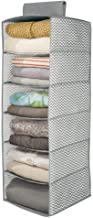 mDesign Long Soft Fabric Over Closet Rod Hanging Storage Organizer with 6 Shelves for Clothes, Leggings, Lingerie, T Shirts - Chevron Zig-Zag Print - Gray/Cream