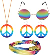BKpearl Hippie Costume Set, Hippie Sunglasses Peace Sign Necklace and Earring with Bow Knot Headband