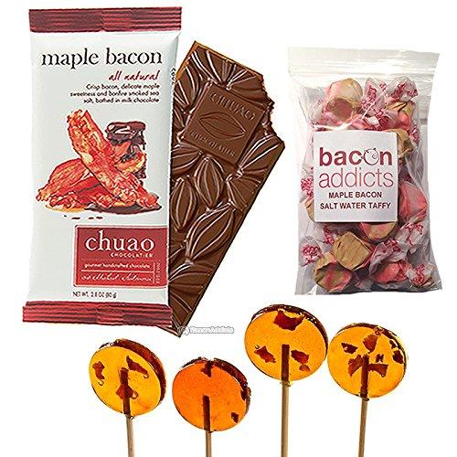 Maple Bacon Candy Sampler Gift Pack (3pc Set) - Maple Bacon Lollipops, Chuao Maple Bacon Milk Chocolate Bar & Maple Bacon Salt Water Taffy