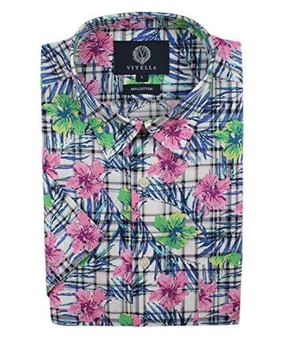 Viyella Hemd, kurzärmelig, Blumenmuster, Pink Gr. XXL, Rose