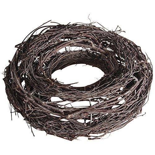 Rayher 65039000-Ghirlanda, legno di vite, bianco satinato, 25cm diametro, legno, marrone, 2.5x 2.5x 0.8cm