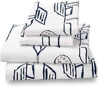 Where The Polka Dots Roam Full Sheet Set Navy Rocket/Plane Print for Kids Bedding - Double Brushed Ultra Microfiber Luxury Bedding Set
