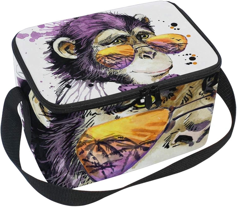 Lunchtasche mit Schultergurt, Motiv    Affe, für Picknick, Lunchbox B07HD8MN5B  Professionelles Design 1b1555