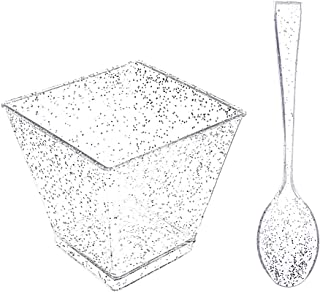 I00000 100 Pieces Plastic Small Dessert Cups with 100 Pieces Mini Spoons Silver Glitter, 100 Pieces 2 Oz Disposable Square...