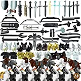 Lingxuinfo Custom Weapons Pack, 80PCS Army Military Weapons Guns for Minifigures Building Block, Ancient Greek Ancient Roman Medieval Weapon Armor Kit Compatible with Major Brand