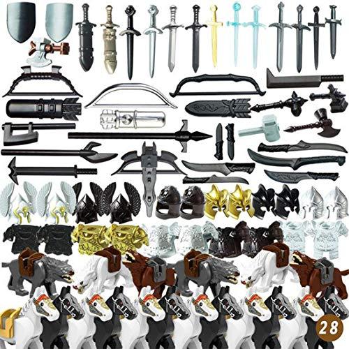 PARIO 60St. Ritter Helm, Custom Waffen Set für Ritter Mini Figuren Soldaten SWAT Team Polizei, passen zum Lego