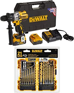 DEWALT DCD996P2 20V MAX XR Lithium Ion Brushless 3-Speed Hammer Drill Kit with DEWALT DW1361 Titanium Pilot Point Drill Bi...