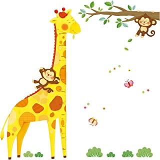 DECOWALL DM-1511 Giraffe Height Chart Kids Wall Decals Wall Stickers Peel and Stick Removable Wall Stickers for Kids Nursery Bedroom Living Room