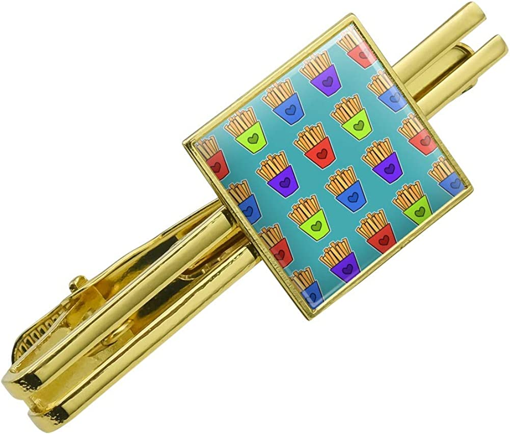 GRAPHICS & MORE Colorful French Fries Pattern Square Tie Bar Clip Clasp Tack Gold Color