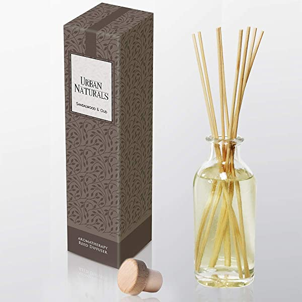 Urban Naturals Indian Sandalwood Oud Reed Sticks Diffuser Oil Set Exotic Woody Scent Oud Vetiver Patchouli Neroli Home Gift Idea Lightning Deal