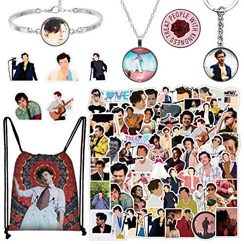 100 pegatinas de Harry Edward Styles con bolsa de cordón de Harry Styles, llavero, collar, pulsera y pin de botón de rosa, populares adhesivos impermeables para portátil, botellas de agua y teléfono