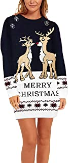 Sovoyontee Women's Christmas Long Sleeve Crew Neck Fitted Knit Pullover Sweater Dress