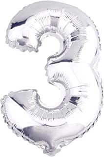Glanzzeit 16 Inch Silver Foil Balloons Letters A to Z Numbers 0 to 9 for Prom Wedding Birthday Party Decor (Number 3)
