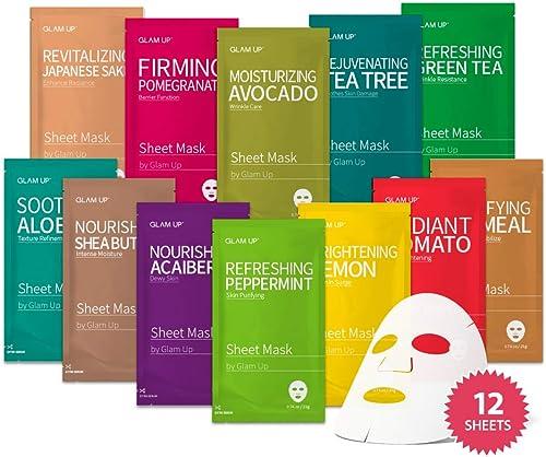 Sheet mask by Glam Up Facial Sheet Mask BTS 12 Combo (Pack of 12) - Face Masks Skincare, Hydrating Face Masks, Moistu...