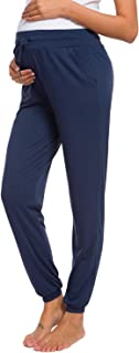 Women's Maternity Loose Casual Pants Stretchy Comfortable Lounge Pants Pregnancy Trousers Navy