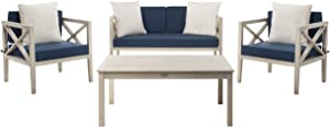 Safavieh PAT7031D Collection Nunzio White and Navy 4 Pc Accent Pillows Outdoor Set