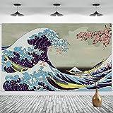 Onde Larga Striscione Foto con Onde dell'Oceano da Appendere a Parete Sfondo Kanagawa Giapponese Fiore di Ciliegio Art Nature Sfondo per Feste Giapponesi, 72,8 x 43,3 Pollici
