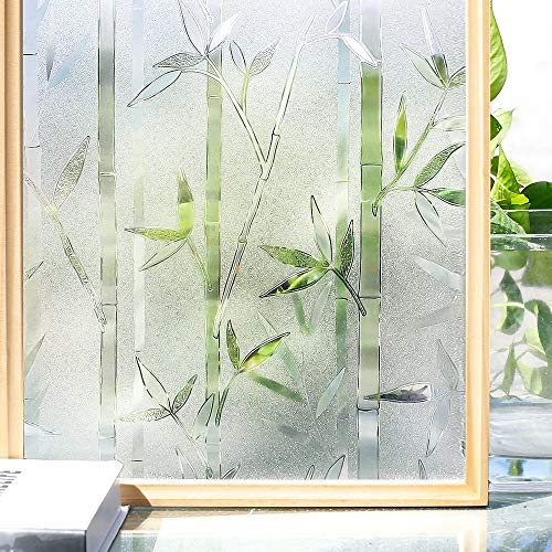 3D-Privacy-Fenster-Film Static Fenster Cling Glass Film Bambus Frosted Filme Vinyl Dekorative Selbstklebende Fenster-Aufkleber Wandmalerei, Leinwand (Color : 45x100cm)