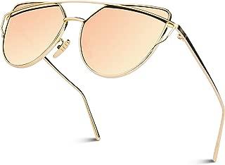 Women's Oversized Polarized Metal Frame Mirrored Cat Eye Sunglasses MT3