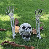 Esqueleton estacas en la apariencia realista, jardín cementerio yarda césped estacas asustadizas Decoraciones de patio de Halloween