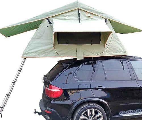 Tente de Toit Pliable exempte de Mise en Place, Conduite Autonome en extérieur Tente de véhicule, Fonction de Prougeection Solaire Contre Les UV et Les UV (avec échelle télescopique)