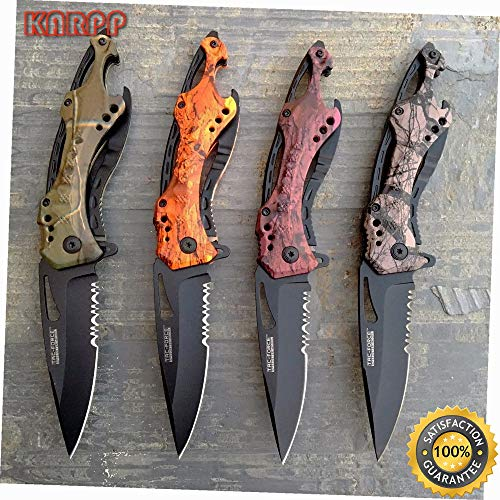 Lot of 4 Assisted Open Popular Camo Tactical Rescue Pocket Knife - Outdoor Camping perfect For Hunting EDC EMT