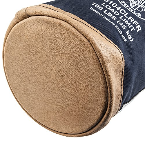 Klein Tools 5104CLRFR Flame-Resistant Top Closing Canvas Bucket Made of No. 4 Canvas, Stitched and Riveted with Double-Reinforced bottom