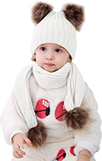 Ant-Kinds Infant Toddler Baby Double Pom Pom Ball Knit Beanie Cap Hat+ Scarf Gift Set