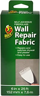 Duck Brand 282084 Self-Adhesive Drywall Repair Fabric, 6-Inch by 25 Feet, Single Roll