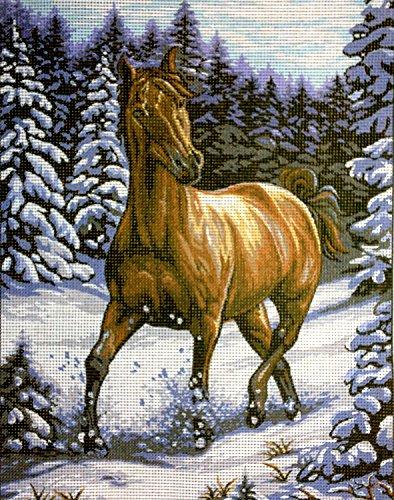 Hudemas Gobelin Stickbild Stickpackung Pferd im Schnee halber Kreuzstich 23x30cm. inkl. Sticktwist cod.328