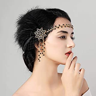Zoestar Vintage Flapper Headbands 1920s Feather Headpiece Black Crystal Headband Gatsby Feather Hair Accessories for Women
