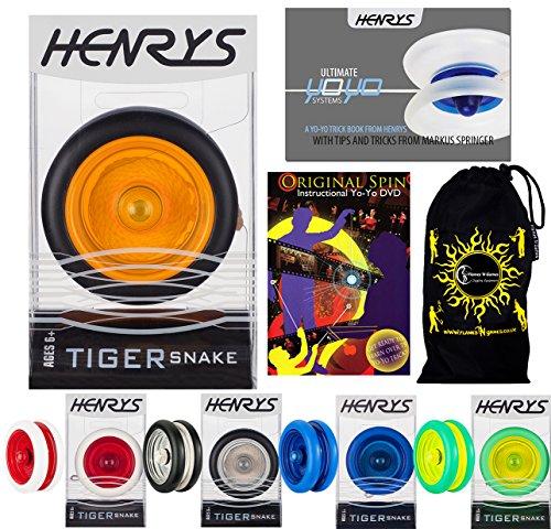 Henrys TIGER SNAKE YoYo (Noir/Orange) Looping Trick (2A) Professionnelle Roulement Yo Yo + livre d'instruction de trucs + 75 Yo-Yo Tricks DVD (en anglais) + sac de voyage!