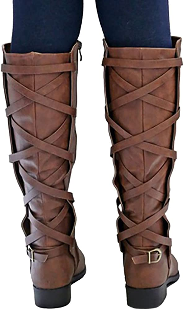 Womens Strappy Motorcycle Knee High Boots Winter Lace Up Riding Flat Low Heel Shoes