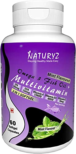 Naturyz 2 in 1 Immunity booster Omega 3 Fish Oil With Multivitamins A D3 E K2 for Immune support Brain Eye Heart Health Mint Flavour 60 Mini Softgels