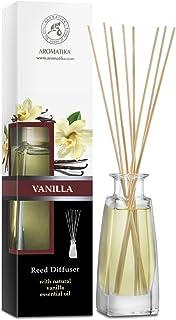 Diffuseur Parfum de Vanille 100ml - Naturel Fragrance Fraîche et Durable - Kit Diffuseur Cadeau avec 8 Bâtonnets de Bambou...