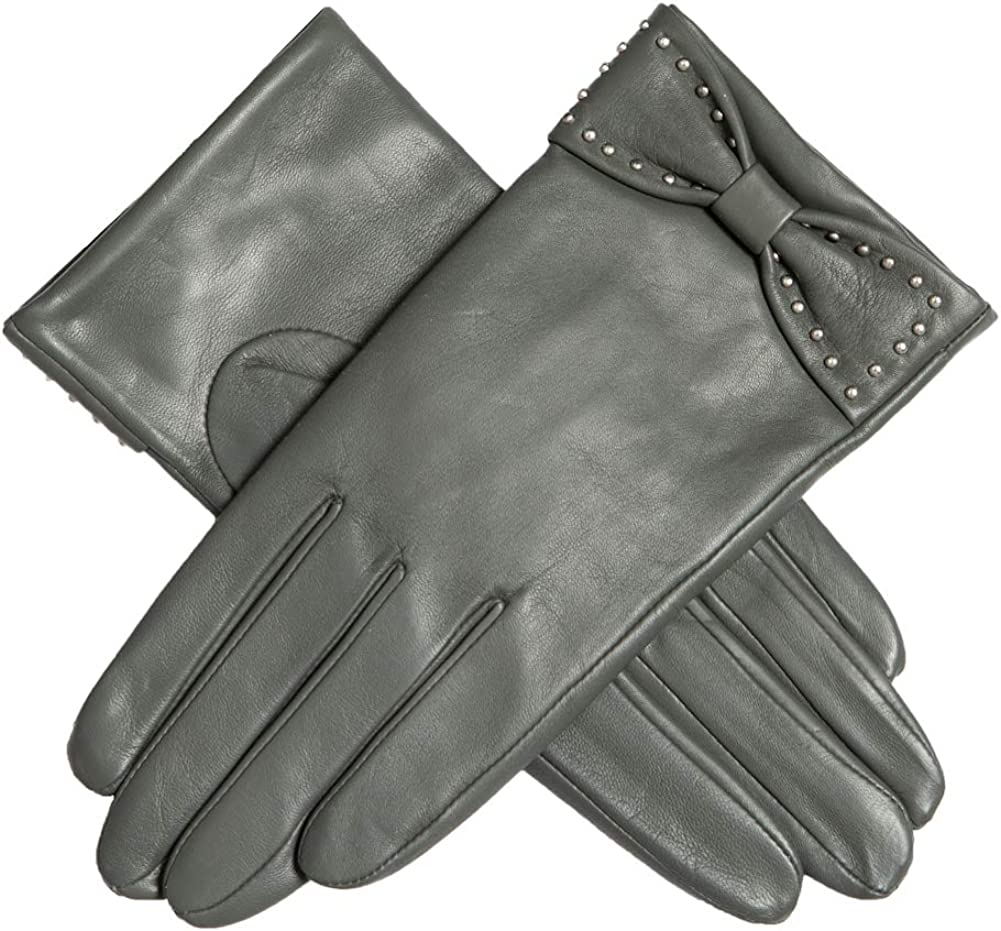Dents Womens Sophia Leather Touchscreen Bow Gloves Charcoal M